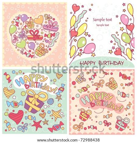 Set of cartoon Happy Bithday card - stock vector