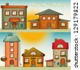 Set of Cartoon Houses. Sweet Home - hand lettering. Vector Illustration. - stock vector