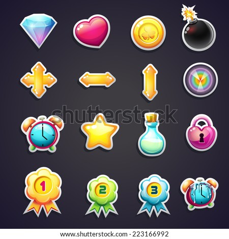 Set of cartoon icons for the user interface of computer games - stock vector