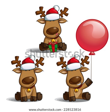 Set of cartoon illustrations of a Santa's elk sitting in three poses-themes. Each pose on separate layer. - stock vector