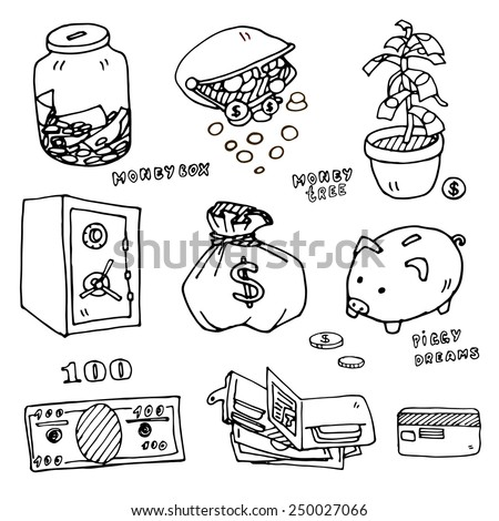 Set of cartoon illustrations of items for storage of money, vector outline option - stock vector