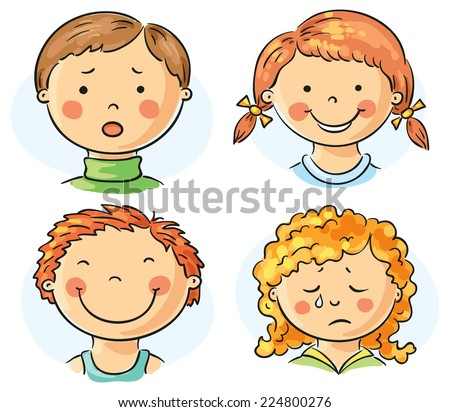 Set of 4 cartoon kids faces with different emotions - stock vector