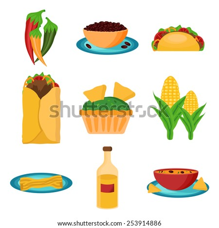 Set of cartoon mexican food for your design - stock vector
