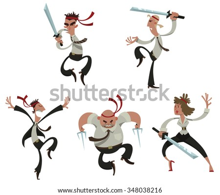 Set of cartoon office people in business clothes with weapons look like japan warrior. They fighting on their place on a career ladder, vector - stock vector