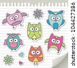 set of cartoon owls on paper page - stock vector