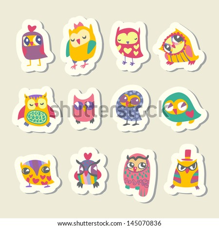 Set of cartoon owls stickers