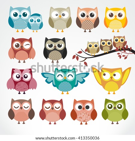 Set of cartoon owls with various emotions. Raster version - stock vector