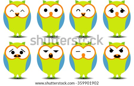 Set of cartoon owls with various facial expressions. Isolated white. - stock vector