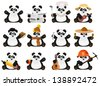 Set of cartoon panda - stock vector