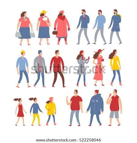 Set of cartoon people in seasonal clothes. Including various lifestyles and ages. Characters illustrations for your design.