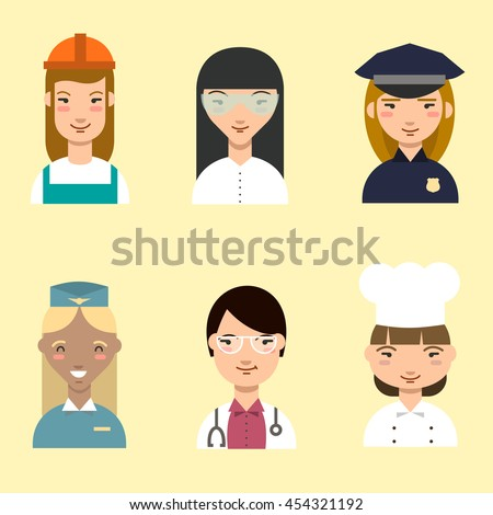 Set of cartoon profession woman: stewardess, doctor, builder, cook, police, scientist. Vector illustration.