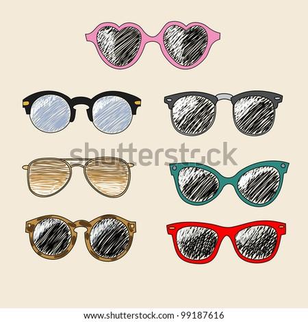 Set of cartoon retro sunglasses - stock vector