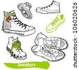 Set of cartoon sneaker - stock vector