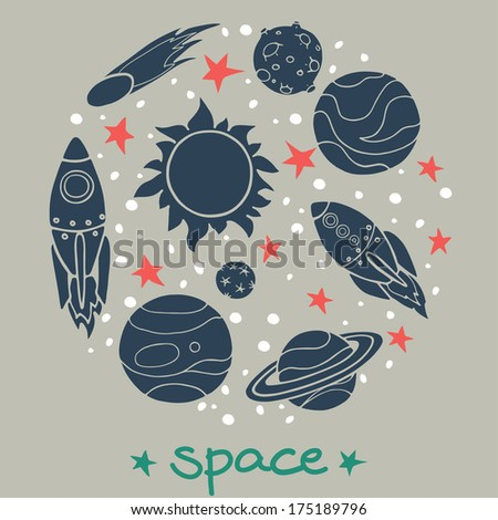 Set of cartoon space elements in circle: rockets, planets and stars. Childish background. Hand drawn flat icons.