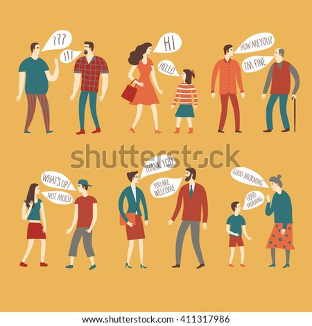 Set of cartoon speaking people in various lifestyles and ages having a dialog. Including businessman, man, woman, teenagers, children, seniors, couple. Characters illustrations with speech bubble. - stock vector