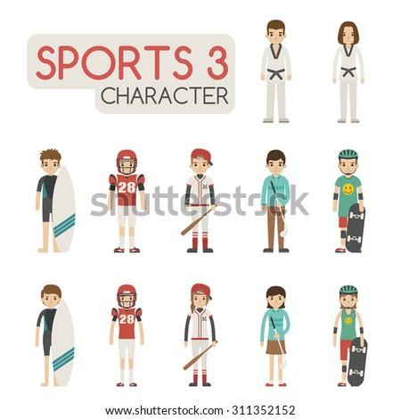Set of cartoon sport characters , eps10 vector format - stock vector