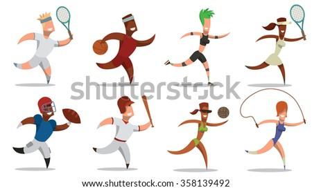 set of cartoon sportsmen. Four female sportsmen and four male sportsmen.Football, basketball, tennis,volleyball, fitness, baseball. vector illustrations - stock vector