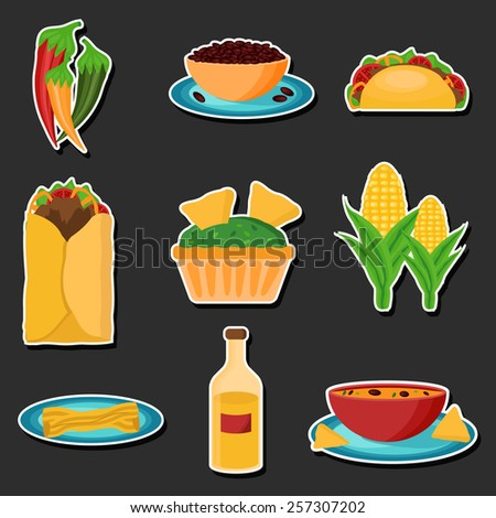 Set of cartoon stickers with mexican food for your design - stock vector