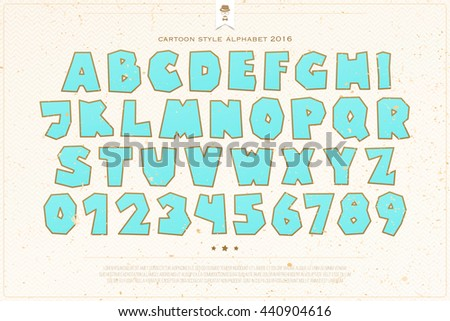 set of cartoon style alphabet letters and numbers over paper texture. vector, comic font type design. kids entertainment lettering icons. comical book text typesetting. animation typeface template - stock vector
