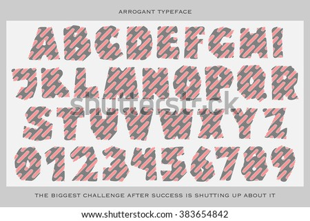 set of cartoon style, funny alphabet letters and numbers isolated on white background. vector, commercial font type design. comic book lettering typeface collection - stock vector