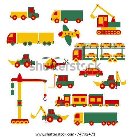 Set of cartoon toys - stock vector
