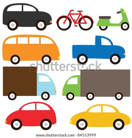 Set of cartoon transport - stock vector