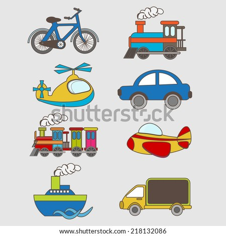 set of cartoon transportation element set