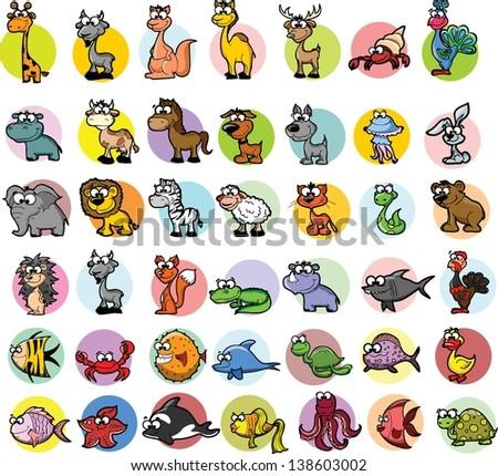 Set of cartoon vector animals - stock vector