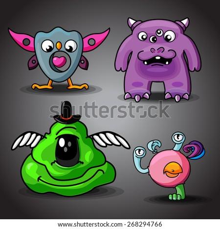 Set of cartoon vector cute monsters - stock vector