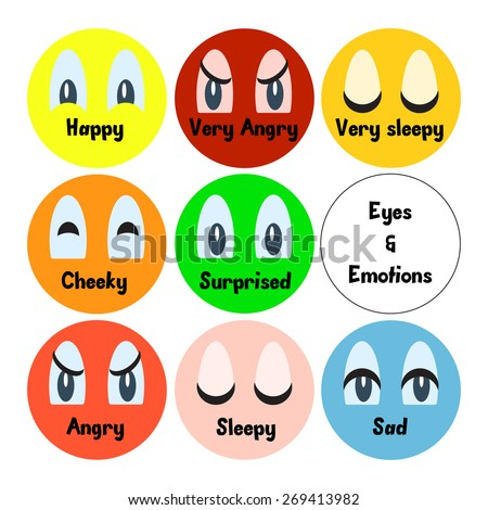 Set of cartoon vector eyes expressing emotions: happy, angry, sleepy, cheeky, surprised, sad. Cartoon elements for your character design. Flat style modern vector illustration. - stock vector
