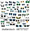 Set of cartoon vector eyes over white background - stock vector