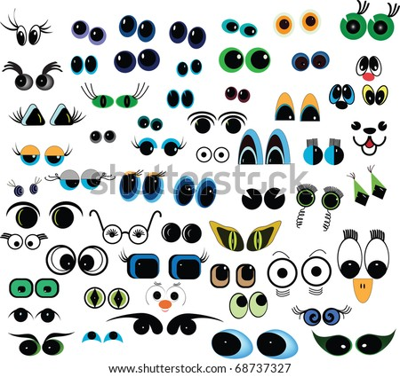 Set of cartoon vector eyes over white background - stock vector