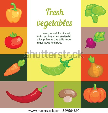 Set of cartoon vegetables for your design