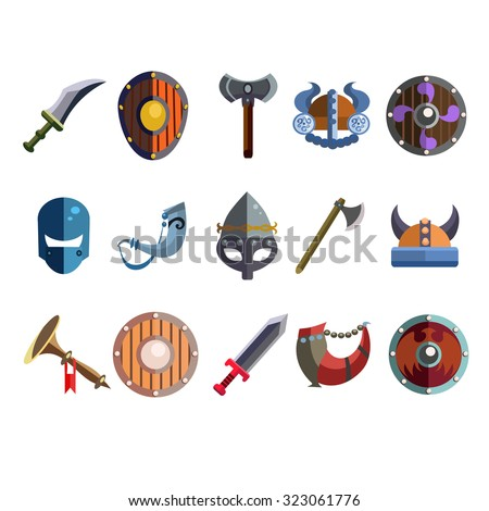 Set of cartoon viking weapon and equipment for games. Vector illustration collection - stock vector
