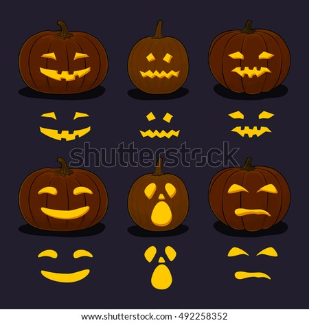 Set of Carved Scary Halloween Pumpkins on Dark Background, a Jack-o-Lantern, Pumpkin Carving Stencil Templates, Vector Illustration
