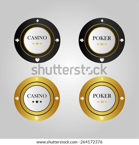 Set of casino chips. Gold, black background. Used for poker  - stock vector