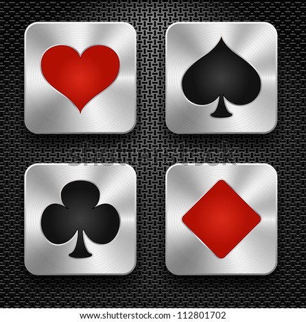 Set of casino elements - playing card symbols, steel icons over metallic background, vector - stock vector