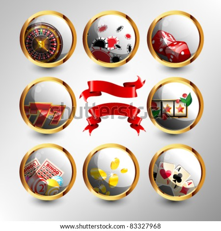 Set of casino`s icons with red ribbons - stock vector