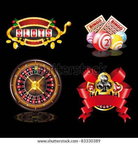 Set of casino`s items on black background - stock vector