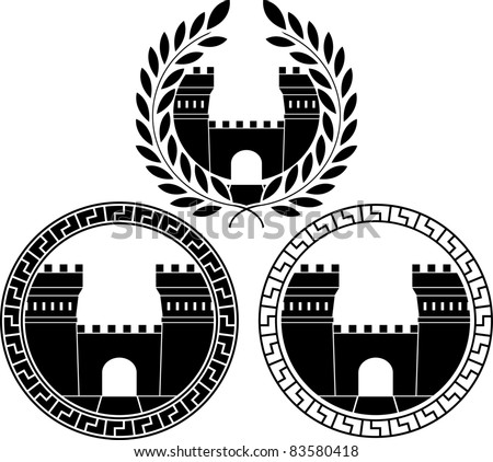 set of castle gates. vector illustration - stock vector