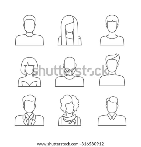Set of casual people icons in lineart outline style with faces. Vector men and women characters. Template concept collection of web profile avatar. Line-art outlined trendy graphics. - stock vector