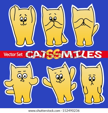 set of cat smiles - stock vector