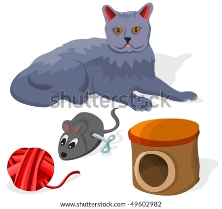 Set of cats accessories A - stock vector