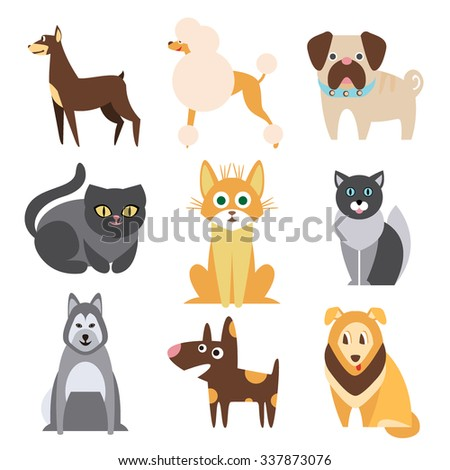 Set of Cats and Dogs of Different Breeds. Flat Vector Illustration - stock vector