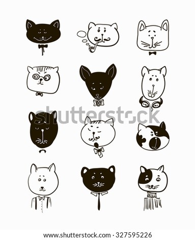 Set of cats heads. Face kitten, whiskers and ears, muzzle and wool. Vector illustration - stock vector