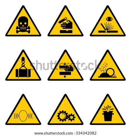Set of 9 Caution Signs. - stock vector