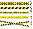 Set of caution tapes. Vector illustration. - stock vector