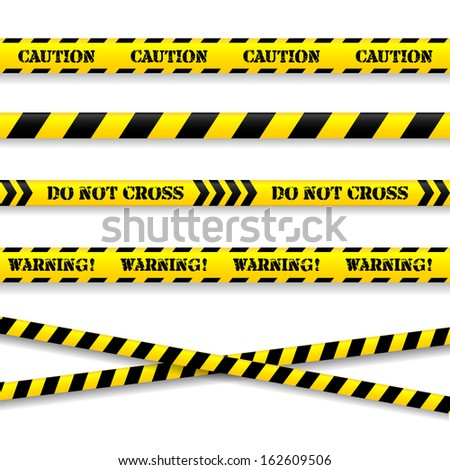 Set of caution tapes. Vector illustration.