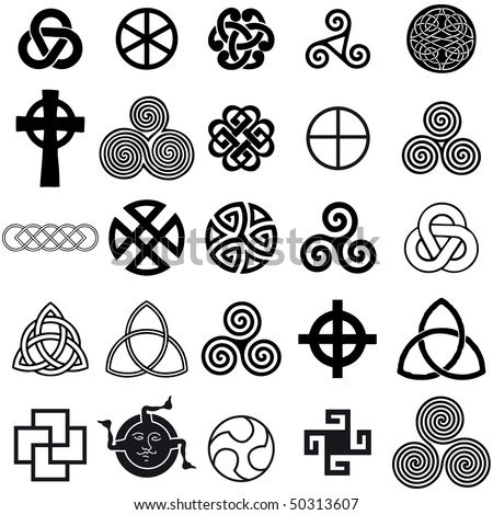 Set of Celtic symbols icons vector. Tattoo design set. - stock vector