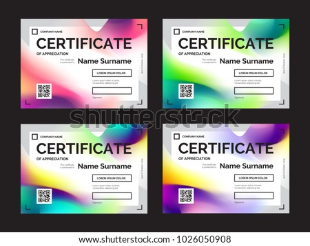 Set certificate templates modern gradients abstract set of certificate templates with modern gradients in abstract style colorful vector illustration for print yelopaper Image collections